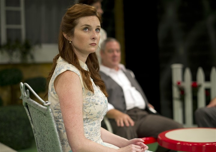 "AllMySons Daina Michelle Griffith as Ann in Arthur Miller's ""All My Sons"" at the Playhouse Rep, with Philip Winters as her prospective father-in-law."