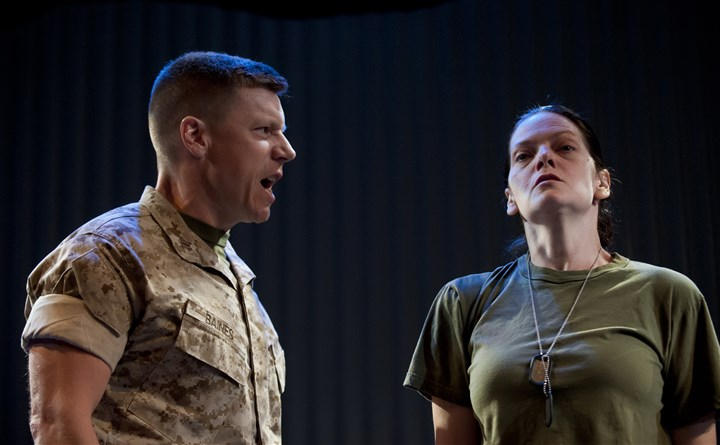 "SoldiersHeart Michael Fuller and Marie Elena O'Brien in ""Soldier's Heart,"" the Tammy Ryan premiere at Playhouse Rep."