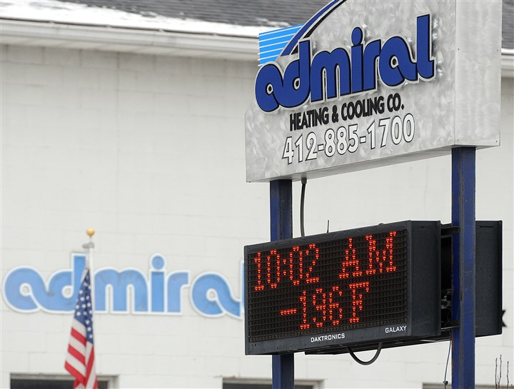 Freezing temperatures Admiral Heating and Cooling in Castle Shannon used its sign along Rt. 88 Sunday to poke fun at forecasts of impending frigid weather.