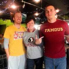 Florida State Susan Jula and her two sons Chris, left, and Brett. The FSU fans will be whooping it up at Social at Bakery Square at 8 tonight.