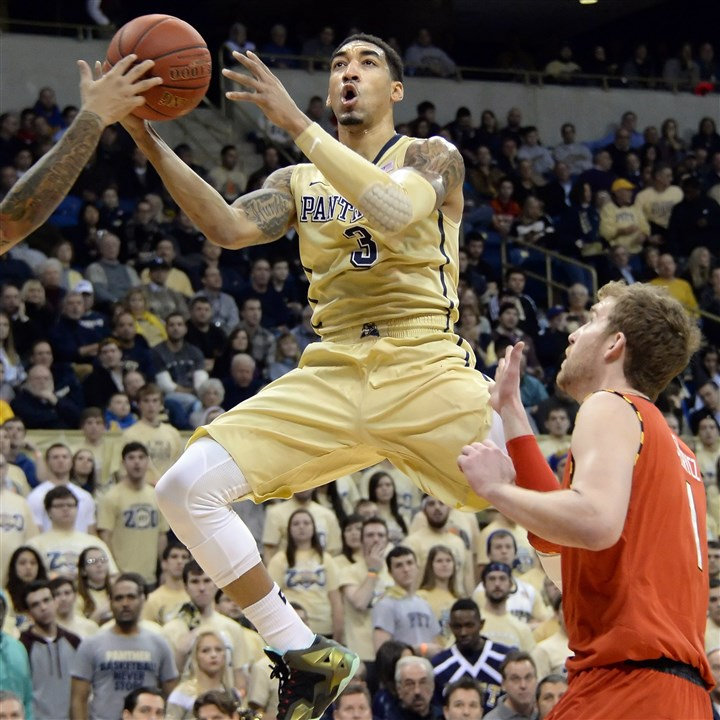 010614mfpittsports01 Pitt's Cameron Wright drives to the net against Maryland in the first half at the Petersen Events Center Monday night.
