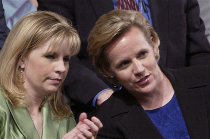 TOPIX CVN CHENEY Liz Cheney, left, and Mary Cheney chat at the 2004 Republican National Convention in New York. They apparently haven't been talking since Liz came out against same-sex marriage during her Senate campaign in Wyoming. Mary is married to a woman.