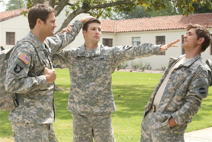 "Enlisted3-4 ""Enlisted"" is a military-set family comedy based at a small Florida Army post centering on three brothers and the group of misfits who surround them. From left, Geoff Stults, Parker Young and Chris Lowell."
