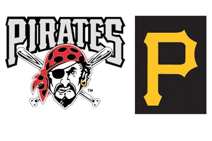 "Pirates logos The team has adopted as its primary logo the gold ""P"" that adorns its hats, replacing the Jolly Roger pirate."