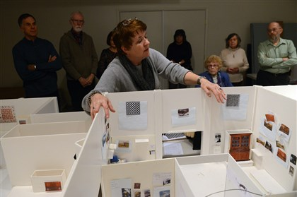 Westmoreland Museum 2 Chief curator Barbara L. Jones shows mock-ups of future gallery space during a tour of the Westmoreland Museum of American Art's temporary space.