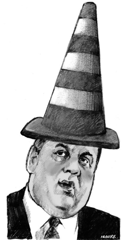 Chris Christie wearing traffic cone