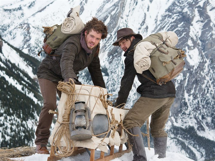 "Klondike Bill Haskell (Richard Madden) (left) and Byron Epstein (Augustus Prew) on Chilkoot Pass in ""Klondike"" on Discovery."