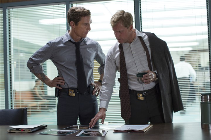 "truedetective2-3 Matthew McConaughey, left, and Woody Harrelson try to track down a killer in HBO's ""True Detective."""