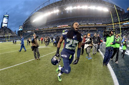 Seattle Seahawks cornerback Richard Sherman Seattle cornerback Richard Sherman celebrates after the Seahawks beat New Orleans in an NFC divisional playoff.