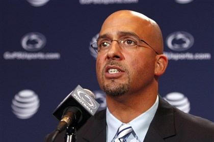 psu0112b-3 James Franklin, head coach of the Penn State Nittany Lions addresses the media on Saturday at Beaver Stadium.