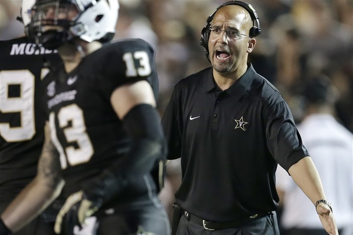 9lx00ksu-1 Vanderbilt head coach James Franklin, shown here during an October home game against Missouri.