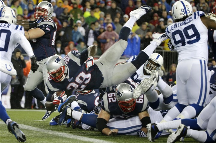 LeGarrette Blount Former New England Patriots running back LeGarrette Blount, shown here diving into the end zone in January, might be a target for the Steelers in free-agency -- if they can make the salary cap space.