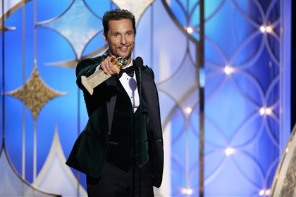 "2014GlobesMatthewMcConaughey0213 Matthew McConaughey accepts the award for best actor in a motion picture drama for his role in ""Dallas Buyers Club"" during the 71st annual Golden Globe Awards."