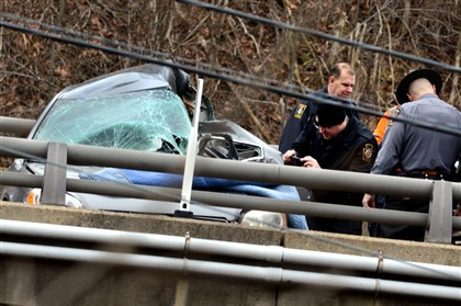 2014 Fatal accident on Route 28, close-up A fatal accident before 8 a.m. Monday on the Route 28 northbound overpass over Saxonburg Road in Harrison led to the route's closure.