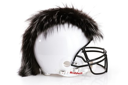 Dennis Basso helmet Dennis Basso designed a fur-trimmed helmet for an auction to benefit the NFL Foundation. The auction is a collaboration among the Council of Fashion Designers of America, Bloomingdale's and the NFL.
