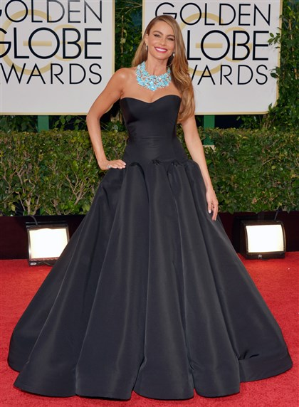 Sofia Vergara at Golden Globes Sofia Vergara wore a black Zac Posen ball gown to the 2014 Golden Globe Awards.