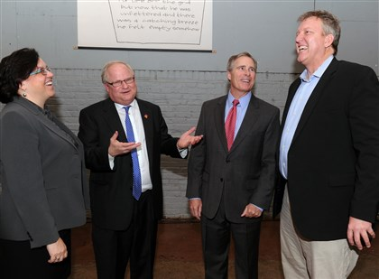 "2014 'The Chair' promo event Showing support for ""The Chair,"" a TV/film reality competition are, from left: Deb Acklin, president and CEO of WQED Multimedia; Carl Kurlander, president and CEO of Steeltown Entertainment Project; Paul Hennigan, president of Point Park University; and producer Chris Moore. They were among those at a launch party and presentation for investors at Clear Story Studio on the South Side."