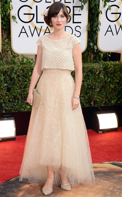 Zooey Deschanel at 2014 Golden Globes Zooey Deschanel wears Oscar de la Renta on the red carpet at the 71st annual Golden Globe Awards Sunday night.