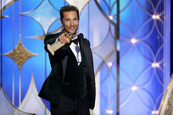 "Matthew McConaughey at 2014 Golden Globes Matthew McConaughey accepts the award for best actor in a motion picture drama for his role in ""Dallas Buyers Club"" during the 71st annual Golden Globe Awards."