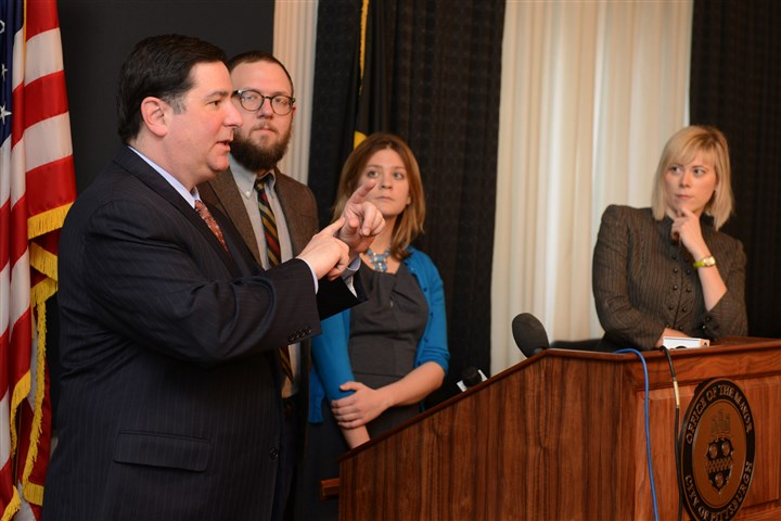 2014 Peduto, Rudiak discuss open data Mayor Bill Peduto discusses the Pittsburgh's new open data ordinance along with policy manager Matt Barron, analytics and strategy manager Laura Meixell and Councilwoman Natalia Rudiak in the mayor's office on Tuesday morning.