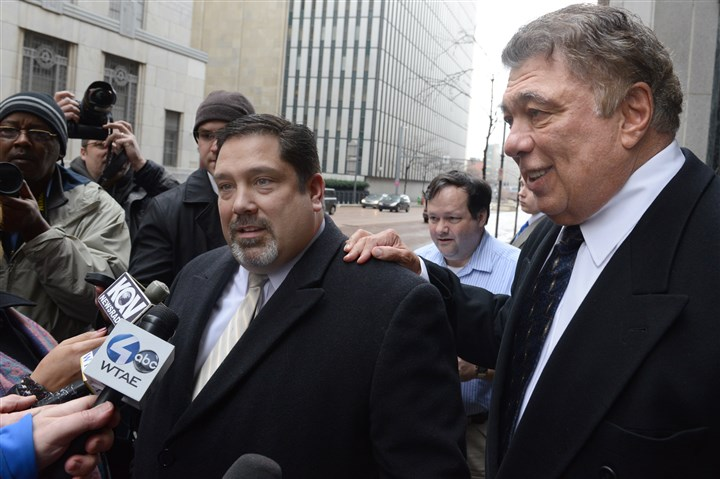 2014 Art Bedway sentencing with attorney Art Bedway, right, and attorney Marty Dietz speak in front of the U.S. Federal Courthouse on Grant Street, Downtown. Mr. Bedway, the Robinson businessman whose bribes spurred the ongoing federal probe of Pittsburgh government, was sentenced to three years of probation and a $30,000 fine.