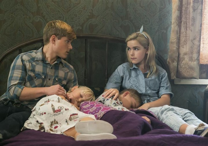 "2014 Children in ""Flowers in the Attic"" From left, Mason Dye, Ava Telek, Maxwell Kovach and Kiernan Shipka play the Dollanganger kids in ""Flowers In The Attic."""
