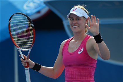 riske0116b-1 Alison Riske of the US celebrates her victory over Yanina Wickmayer of Belgium in their women's singles second round match on day three of the 2014 Australian Open tennis tournament in Melbourne on January 15, 2014.