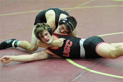 20140114BurnhamNORTHSPTS.jpg Pine-Richland's Brendan Burnham, top, has Upper St. Clair's Brooks Wilding in a predicament in the semifinals of the Chartiers-Houston tournament to open the 2013-14 high school wrestling season.