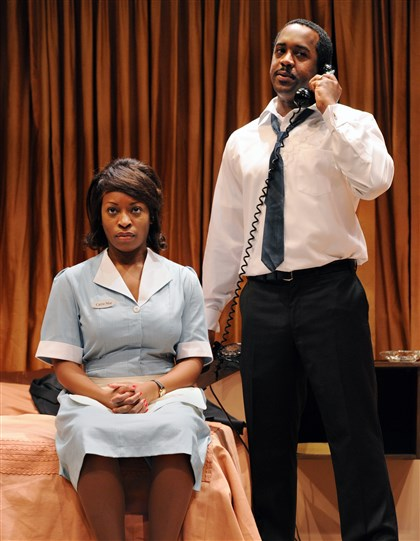 20140114JHMAGPlay01-1 Bianca LaVerne Jones, left, plays a mysterious maid Martin Luther King Jr. (portrayed by Albert Jones) meets at the Lorraine Motel in Memphis, Tenn. on the last night of his life.