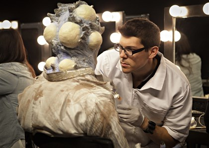 "TylerGreen Tyler Green works on his creation in the Season 6 premiere of Syfy's ""Face Off."" Mr. Green is a graduate of the Tom Savini Special Make-up Effects program in Monessen."