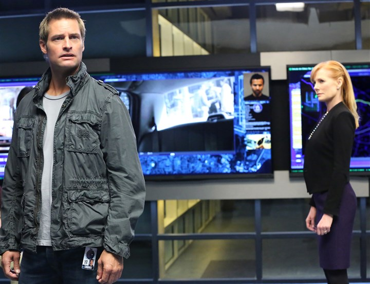 "Intelligence.1-8 PJ Byrne, left, Josh Holloway and Marg Helgenberger in ""Intelligence."""