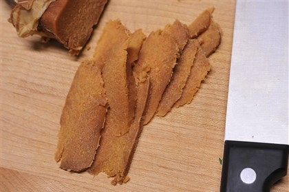 Slices of bottarga Slices of bottarga.