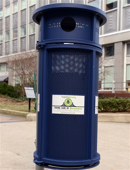 Recycling bin with Ravenstahl's name This recycling receptacle on the Boulevard of the Allies at Gateway Center bears the name of former mayor Luke Ravenstahl. Mayor Bill Peduto's first executive order banned the city from putting elected officials' names on city property and said that the names of previous mayors will be removed.