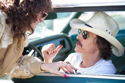 "Buyersclub From left, Jared Leto as Rayon and Matthew McConaughey as Ron Woodroof in Jean-Marc Vallée's fact-based drama, ""Dallas Buyers Club."""