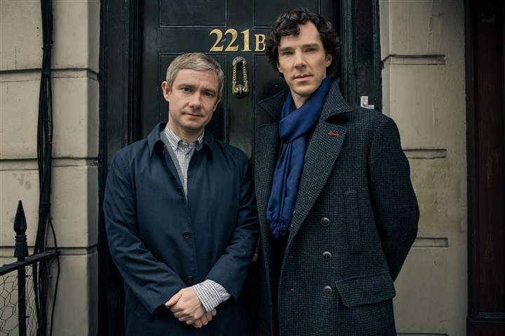 """Sherlock"" Cumberbatch, Freeman Martin Freeman, left, as Dr. John Watson and Benedict Cumberbatch as Sherlock Holmes in ""Sherlock."""