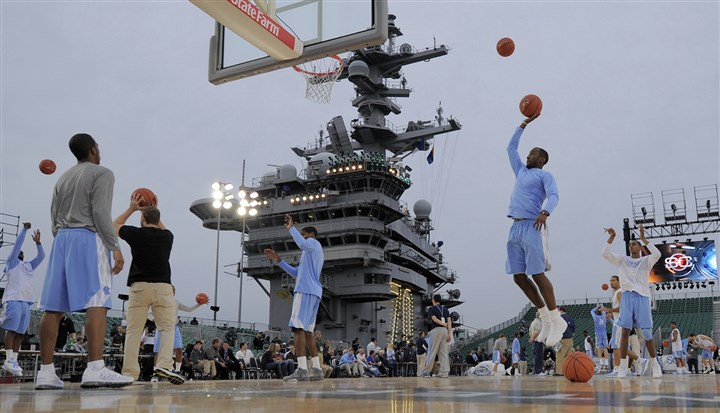 carrierclassic2-1 North Carolina practices Thursday for the Carrier Classic aboard the USS Carl Vinson in Coronado, Calif.