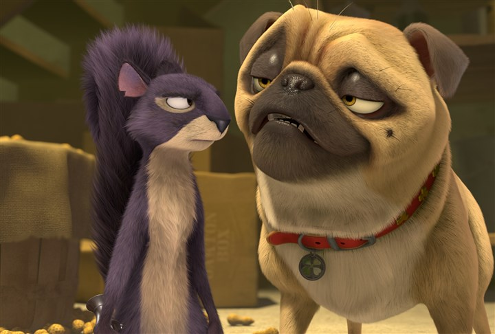 "NutJob Surly (voiced by Will Arnett) and Precious the Pug (voiced by Maya Rudolph) in ""The Nut Job."""
