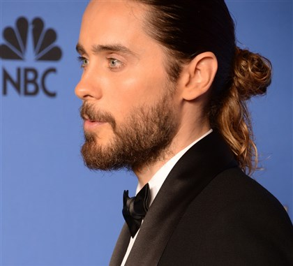 "Jared Leto Actor Jared Leto sported a ""man-bun"" on the Golden Globes red carpet."