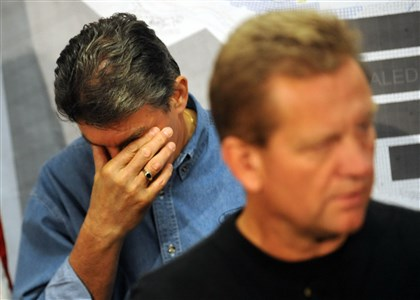 Upper Big Branch Joe Manchin Then-West Virginia Gov. Joe Manchin rubs his eyes while Kevin Stricklin of the Mine Safety and Health Administration talks with reporters during a news conference announcing that the four missing miners in the Upper Big Branch mine explosion were found dead by rescue teams on April 10, 2010.