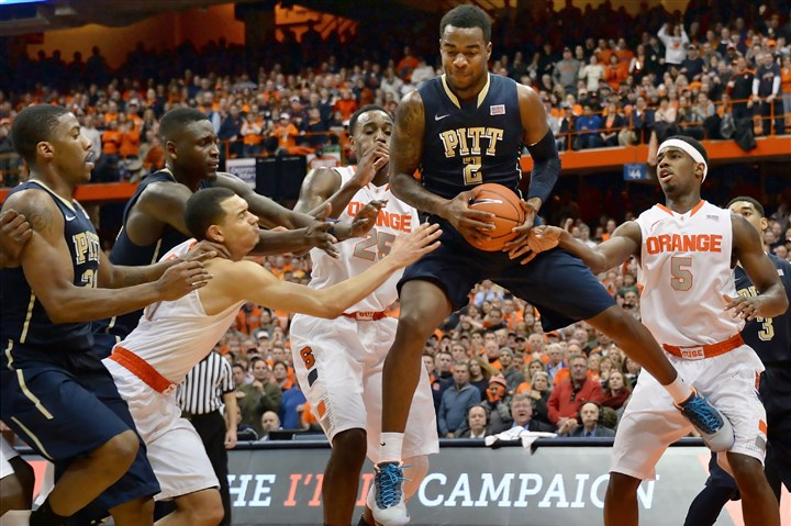 Pitt's Michael Young Pitt's Michael Young pulls down a rebound against Syracuse in the second half at the Carrier Dome on Saturday.