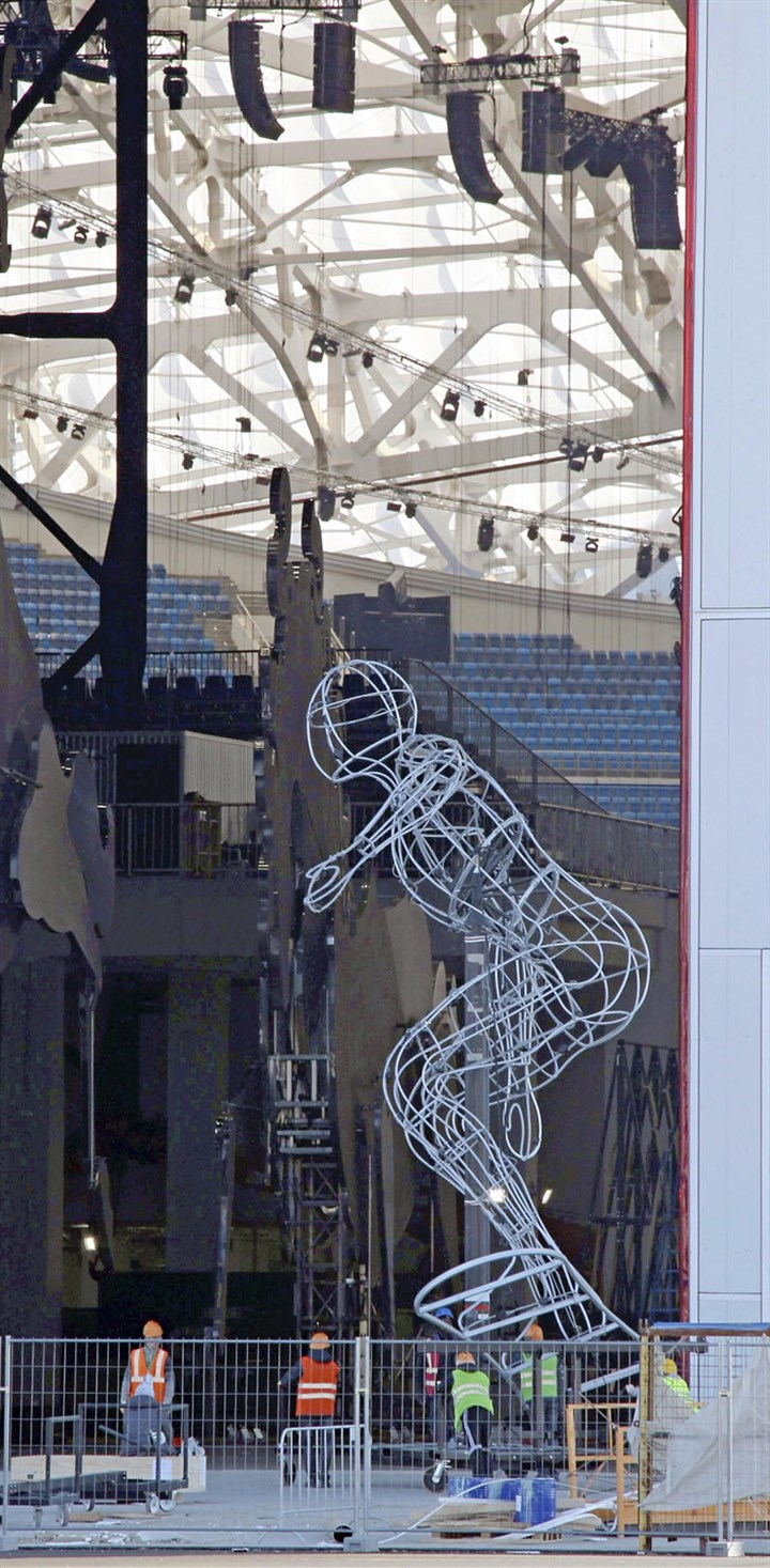 Sochi snowboard sculpture A huge wire sculpture of a snowboard athlete is displayed in the Sochi Winter Games Olympic stadium, where the opening and closing ceremonies will be held.