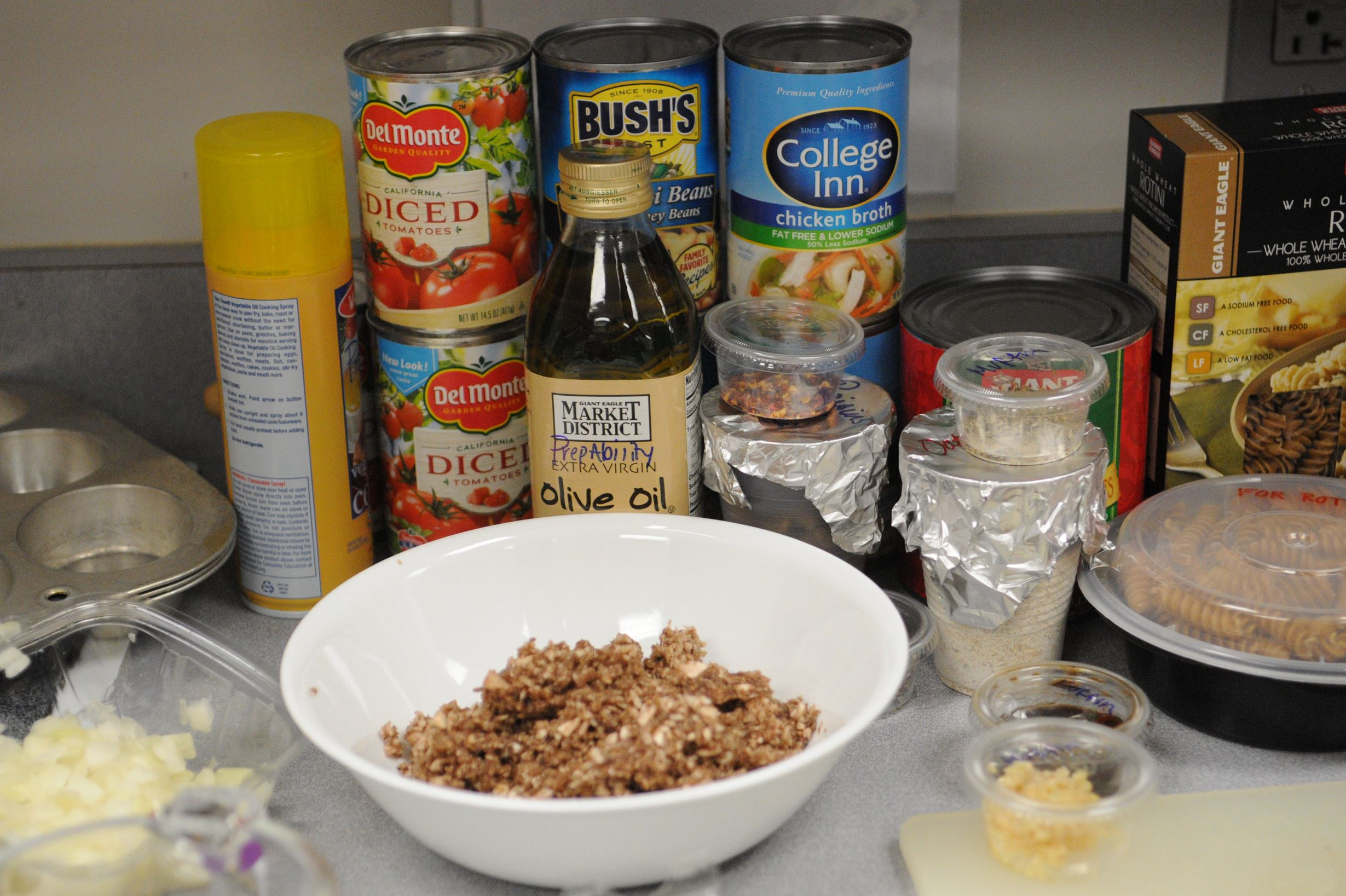 20140118ttCookingFood4-3  Ingredients for the recipes for the PrepAbility class sit on a counter.