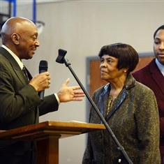 Dorothy Price Winnie Love, left, introduces Dorothy Price, 86, the daughter of John Wilson, a founder of the Bridgeville Civil League, before she receives a proclamation during their program Monday at Bethany Presbyterian Church.