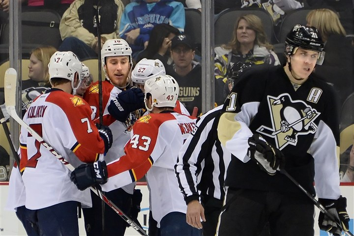 Malkin not happy The Penguins' Evgeni Malkin shows his displeasure after the Panthers score their fifth goal of the night at Consol Energy Center.
