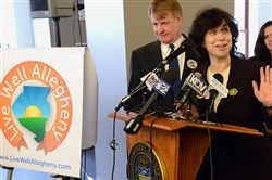 Allegheny County Executive Rich Fitzgerald and Health Department Director Dr. Karen Hacker announce Live Well Allegheny, a long-term program to encourage proactive steps to improve residents' health, in January.