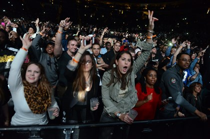20140121bwJayzMag04 The front-row crowd cheers on Jay-Z at Consol Energy Center Tuesday.