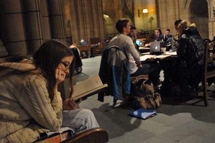 Pitt students at Cathedral of Learning Colleen Main, left, is among the students studying and reading in the Cathedral of Learning on Pitt's campus in January. The university's chancellor said today that expanding the state-related university system should be done with caution.