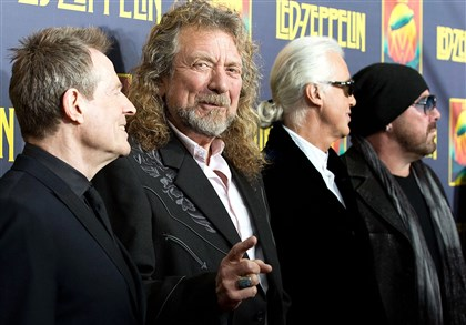 Led Zepplin Musicians John Paul Jones, Robert Plant, Jimmy Page and Jason Bonham of Led Zeppelin.