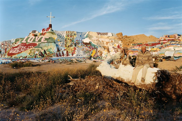 Joel Sternfeld - Salvation Mountain Leonard Knight at Salvation Mountain, Slab City, Calif., March 2005.