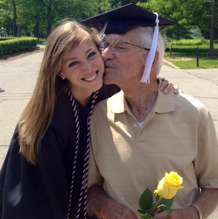 Sarah Mervosh and her grandfather, 2012 Together at her 2012 commencement at the University of Notre Dame.